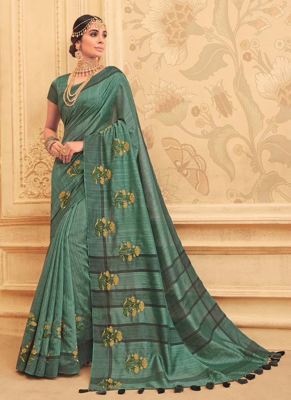 Green Engagement Art Silk Traditional Designer Saree