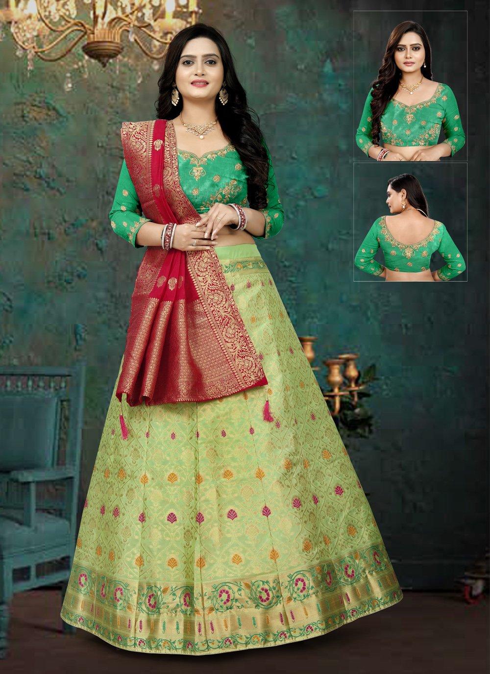 Green Engagement Banarasi Silk Lehenga Choli