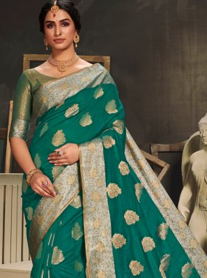 Green Engagement Cotton Silk Designer Traditional Saree