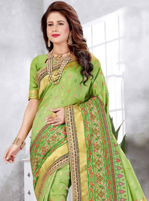 Green Engagement Designer Traditional Saree
