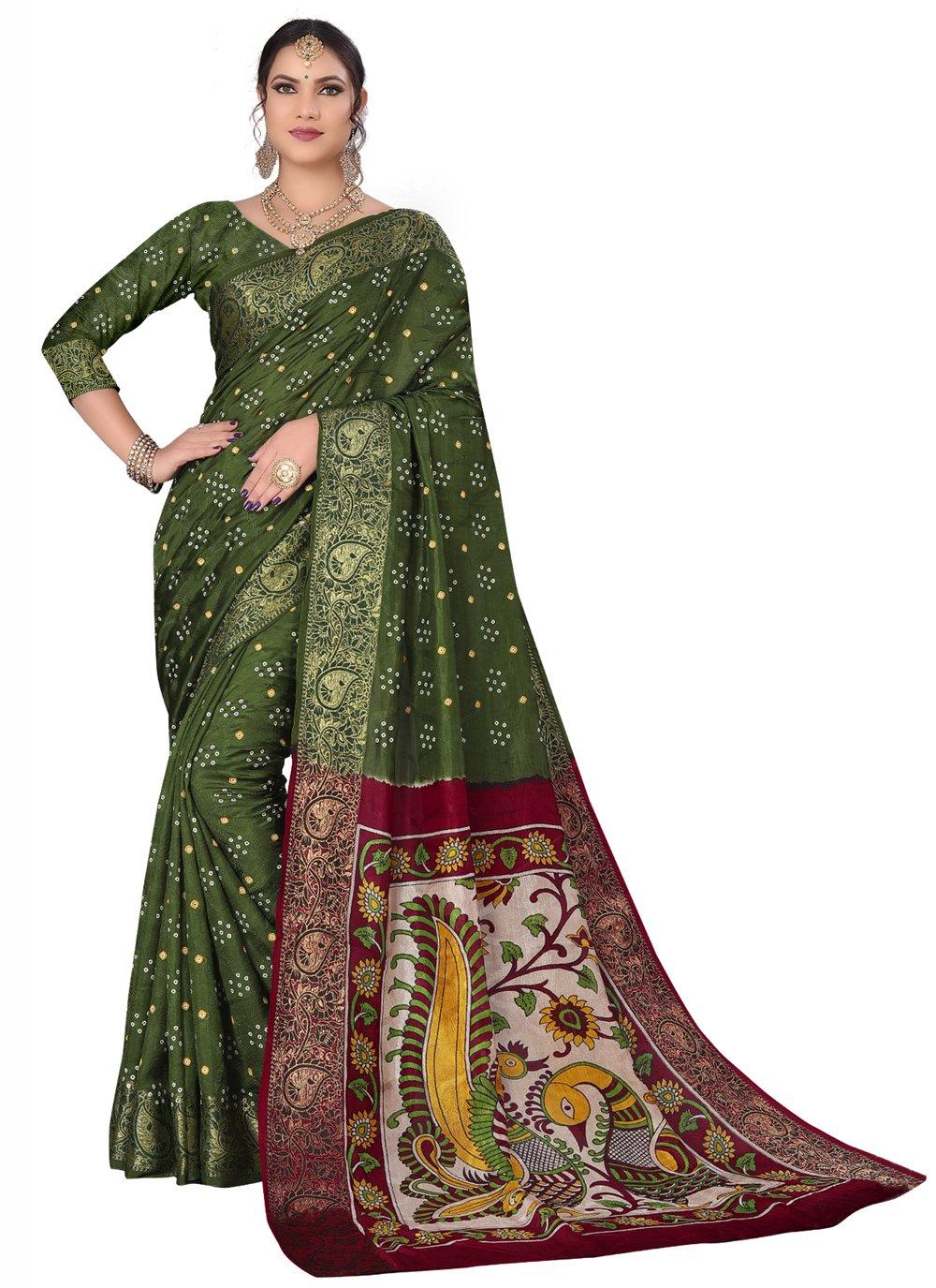 Green Engagement Designer Traditional Saree