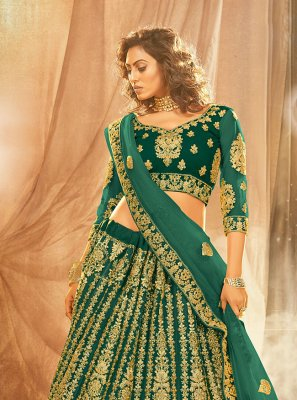 Green Engagement Lehenga Choli