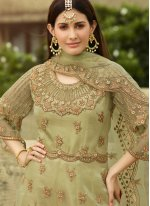 Green Engagement Net Designer Palazzo Suit