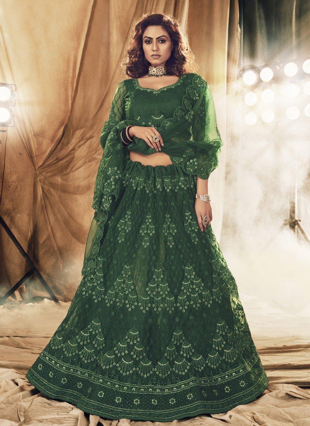 Green Engagement Net Lehenga Choli