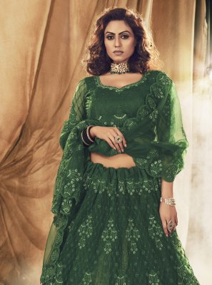 Green Engagement Net Lehenga Choli