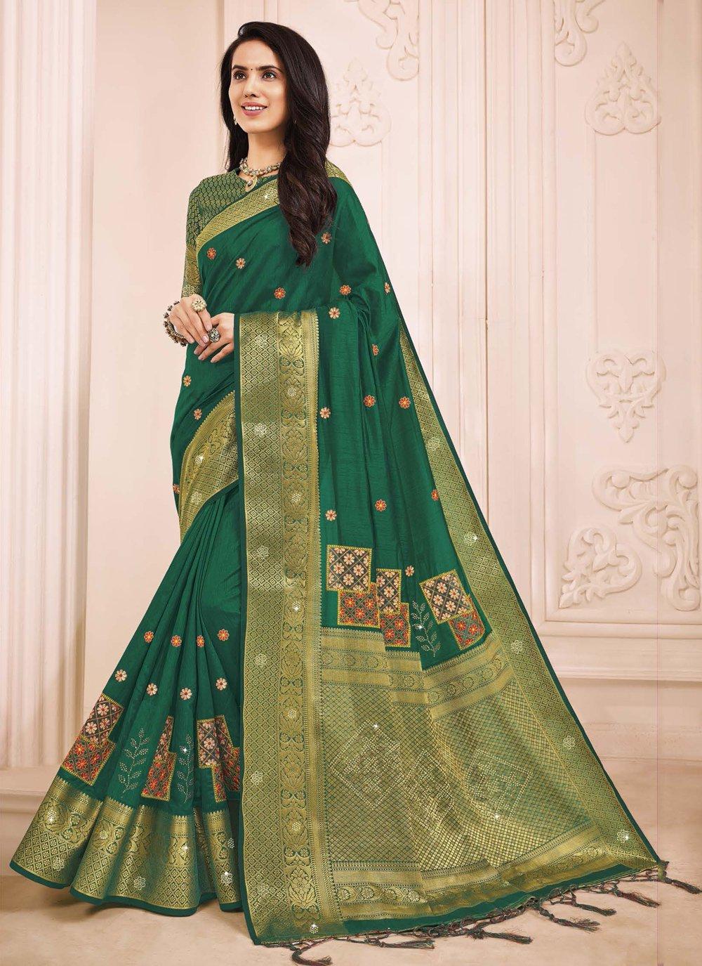Green Engagement Traditional Designer Saree