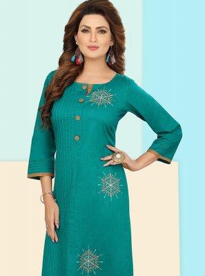Green Fancy Cotton Silk Party Wear Kurti