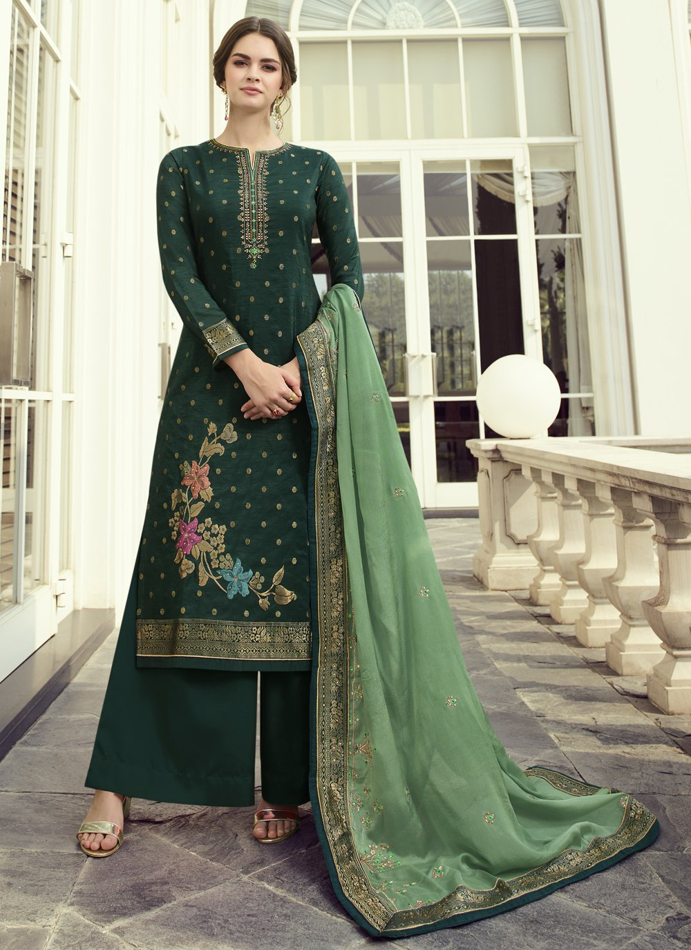 Green Fancy Fabric Designer Pakistani Salwar Suit