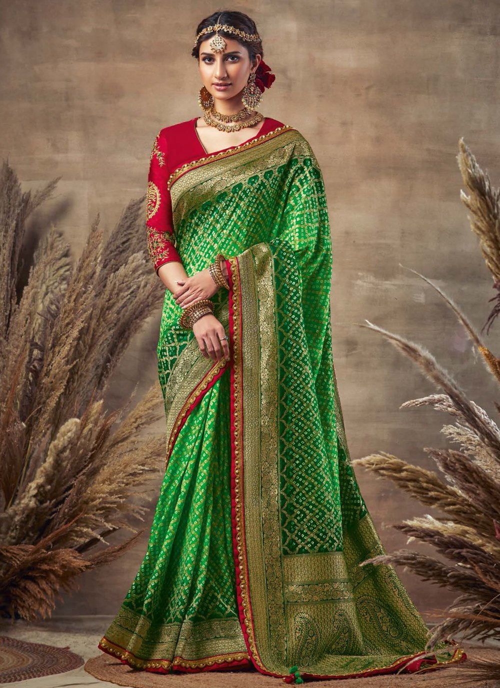 Green Fancy Fabric Mehndi Designer Traditional Saree
