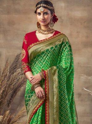 Green Fancy Fabric Mehndi Designer Traditional Saree