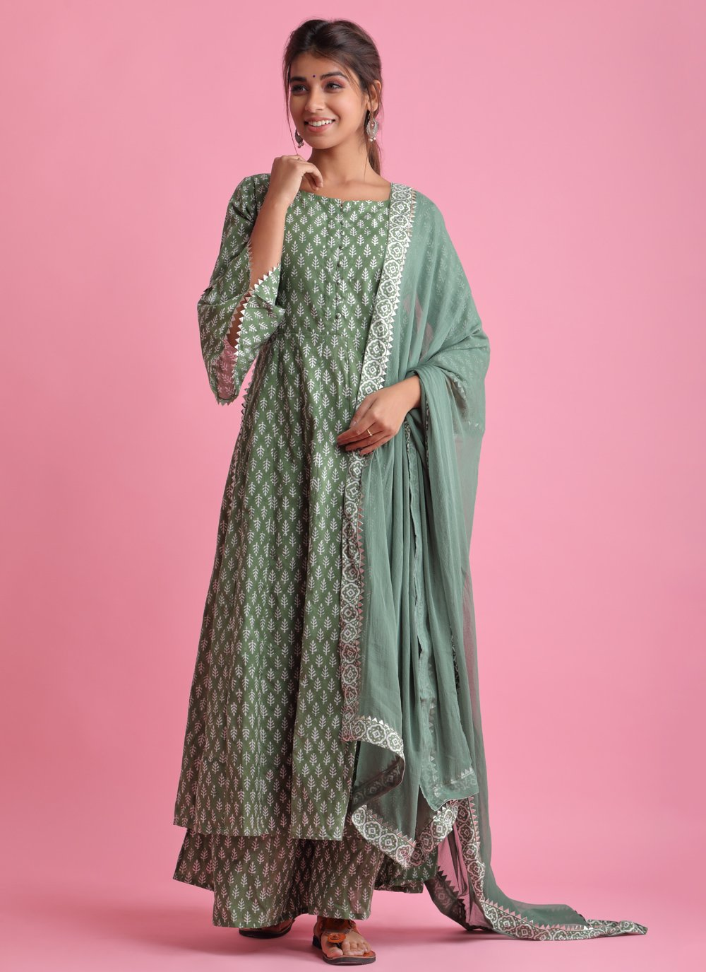 Green Fancy Fabric Readymade Suit
