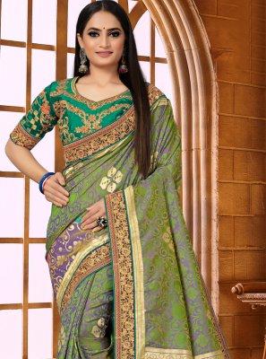 Green Fancy Fabric Weaving Classic Designer Saree