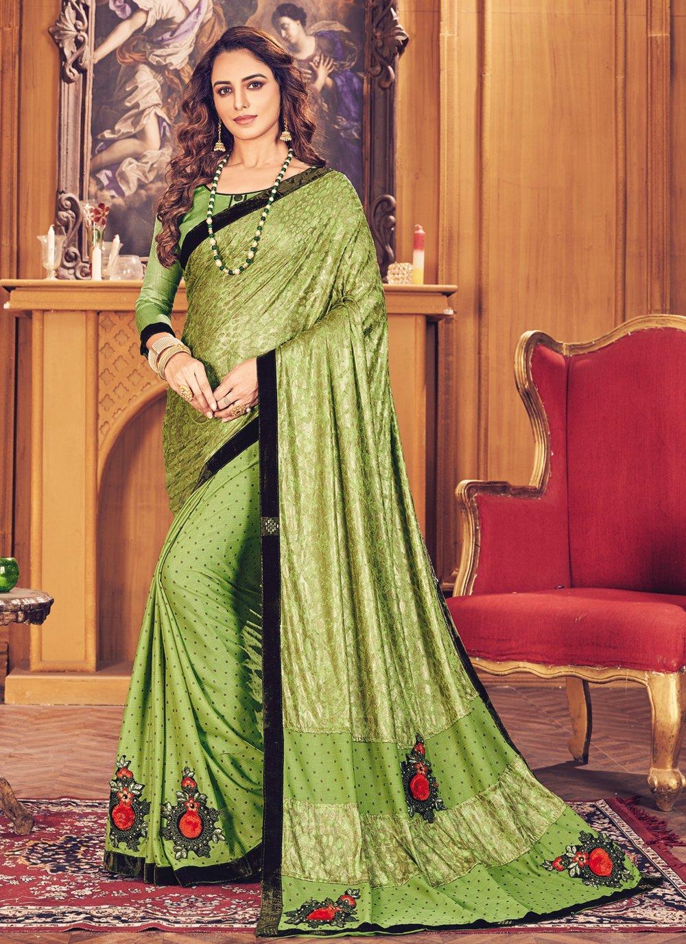 Green Fancy Fancy Fabric Classic Designer Saree