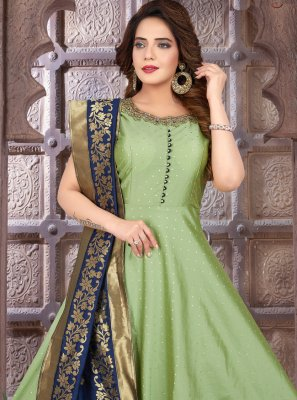 Green Fancy Floor Length Anarkali Suit