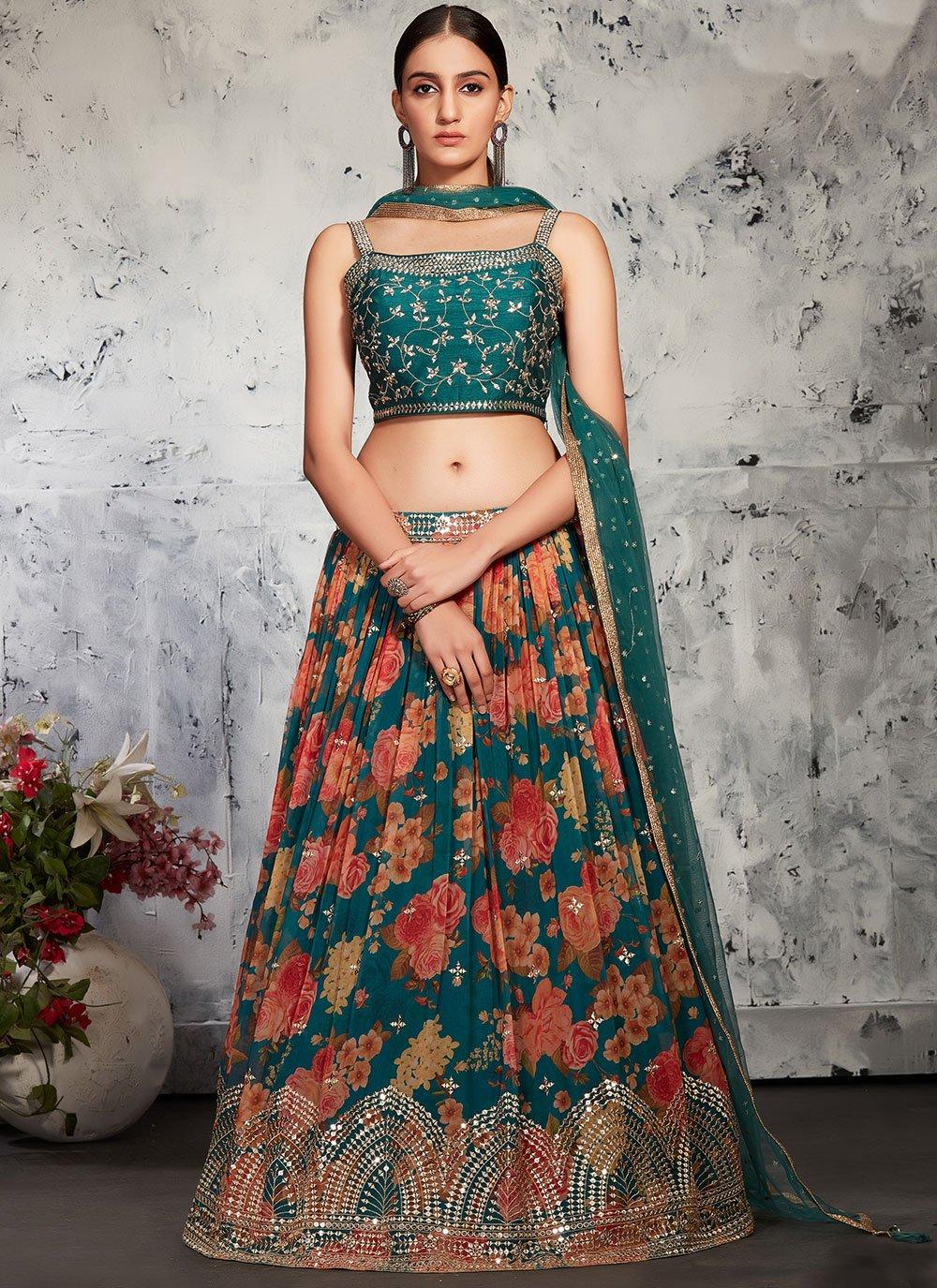 Green Fancy Georgette Readymade Lehenga Choli