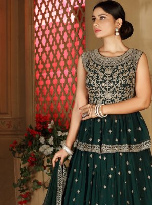 Green Fancy Mehndi Readymade Lehenga Choli