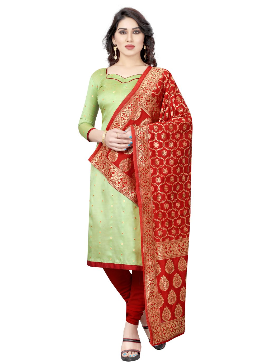 Green Fancy Tafeta Silk Churidar Salwar Suit