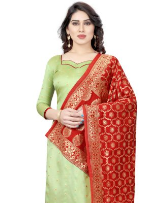 Green Fancy Tafeta Silk Churidar Salwar Suit