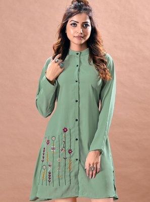 Green Faux Chiffon Embroidered Designer Kurti