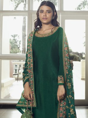 Green Faux Chiffon Embroidered Designer Pakistani Suit