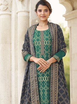 Green Faux Chiffon Festival Designer Palazzo Salwar Suit