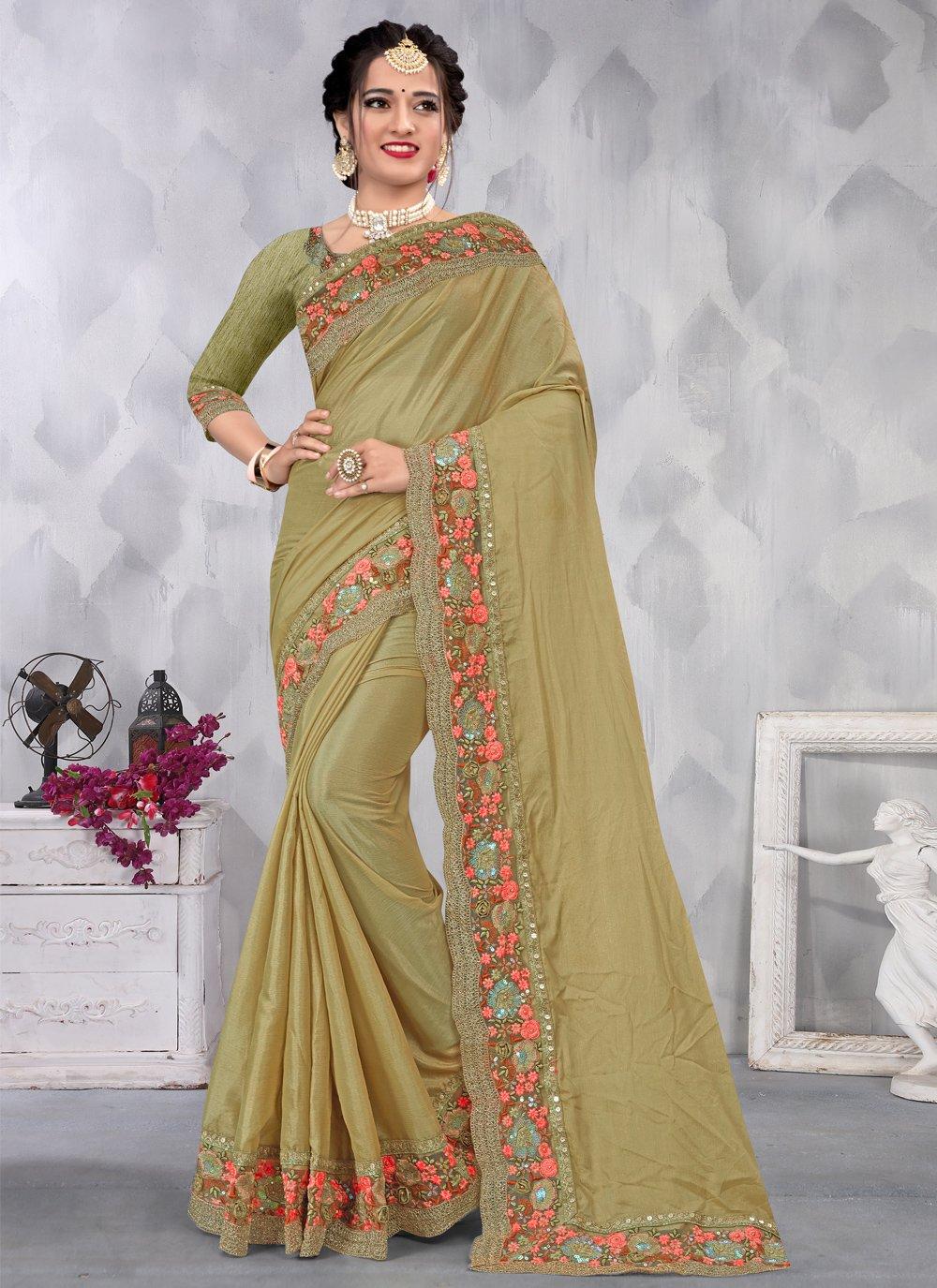 Green Faux Chiffon Sequins Designer Saree