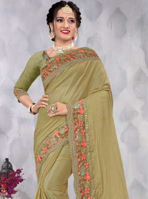 Green Faux Chiffon Sequins Designer Saree
