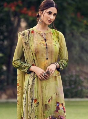 Green Faux Crepe Palazzo Suit
