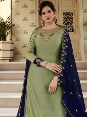 Green Faux Georgette Designer Long Lehenga Choli
