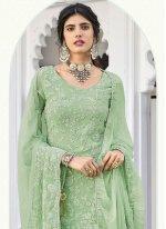 Green Faux Georgette Designer Palazzo Salwar Kameez
