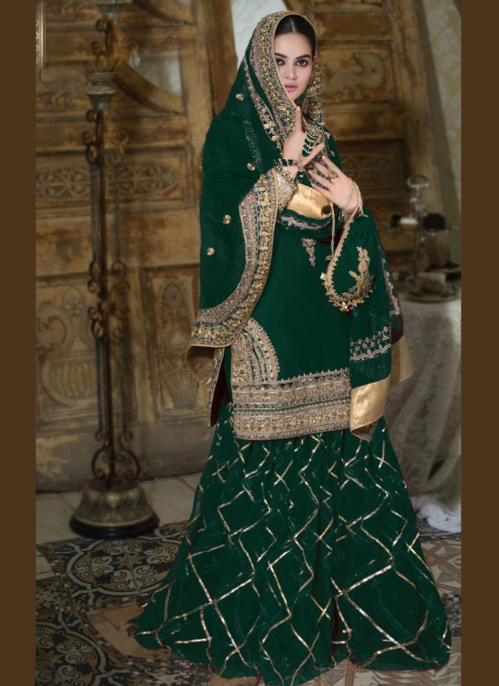 Green Faux Georgette Designer Palazzo Salwar Suit