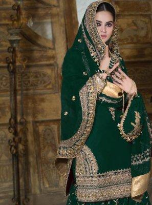 Green Faux Georgette Designer Palazzo Salwar Suit