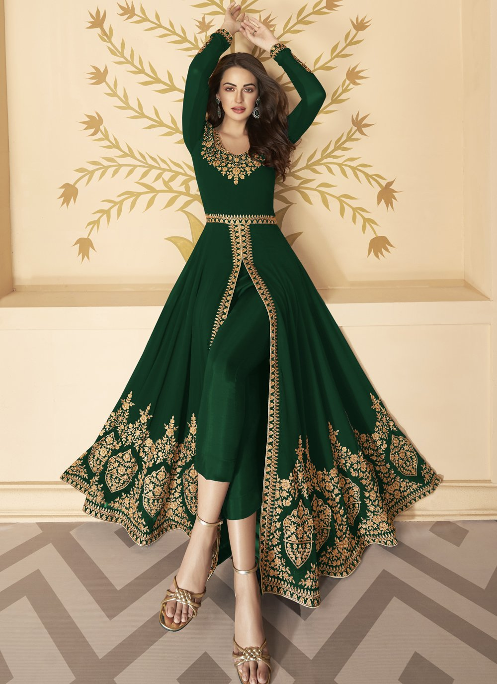 Green Faux Georgette Embroidered Anarkali Salwar Kameez