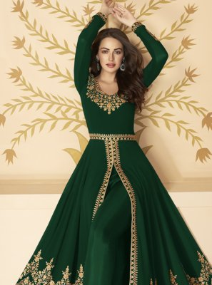 Green Faux Georgette Embroidered Anarkali Salwar Kameez