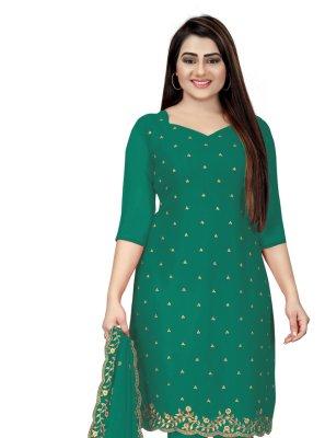 Green Faux Georgette Embroidered Churidar Designer Suit