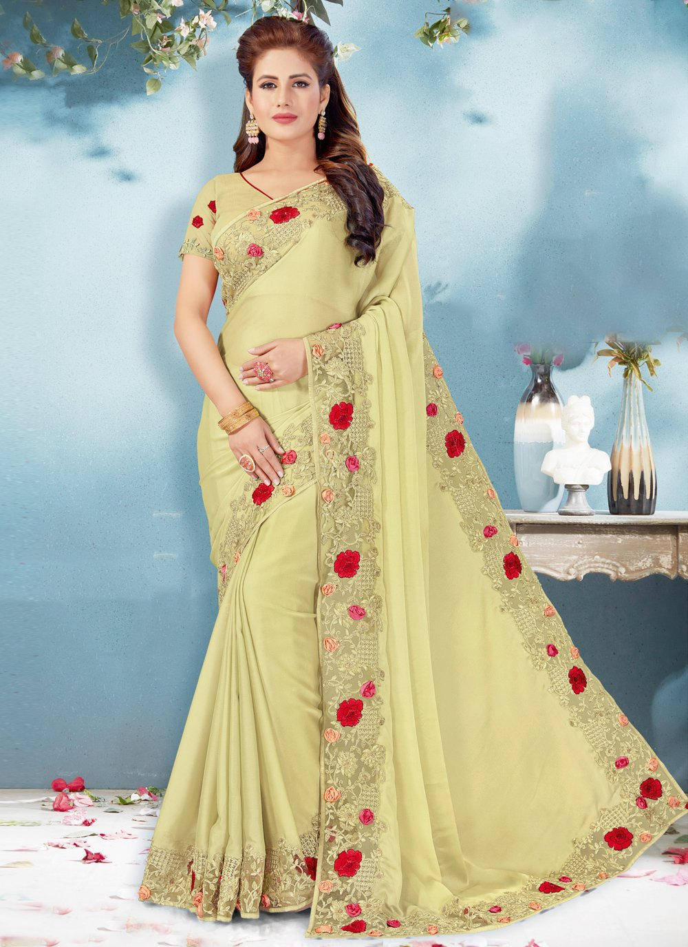 Green Faux Georgette Embroidered Classic Designer Saree