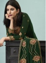 Green Faux Georgette Embroidered Designer Pakistani Suit