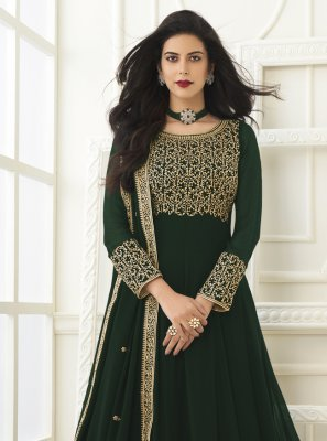 Green Faux Georgette Floor Length Anarkali Suit