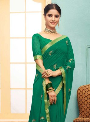 Green Faux Georgette Lace Trendy Saree