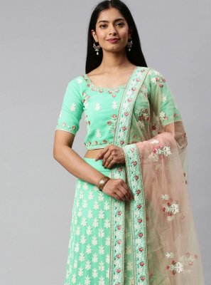 Green Faux Georgette Lehenga Choli