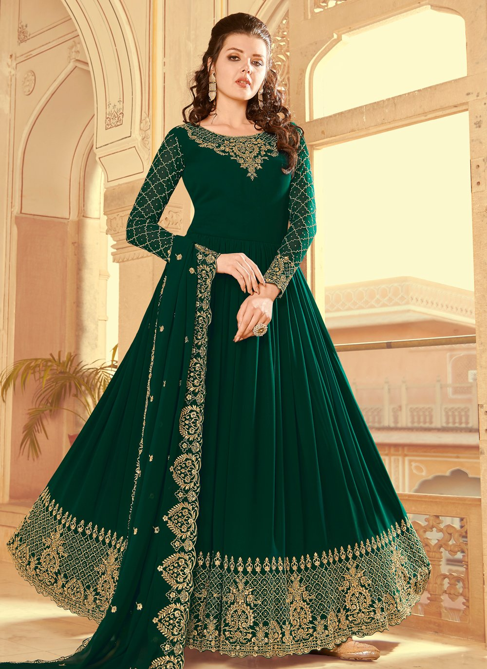 Green Faux Georgette Resham Floor Length Anarkali Suit