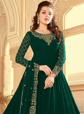 Green Faux Georgette Resham Floor Length Anarkali Suit