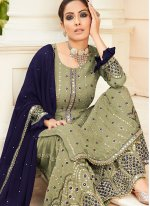 Green Faux Georgette Sangeet Designer Palazzo Suit