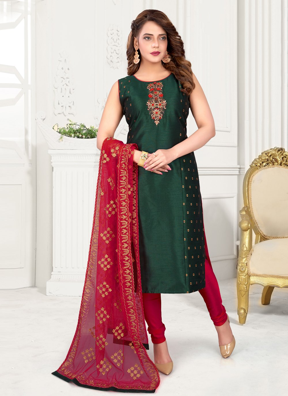 Green Festival Art Silk Readymade Suit