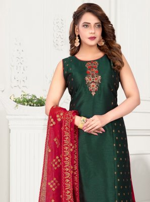 Green Festival Art Silk Readymade Suit