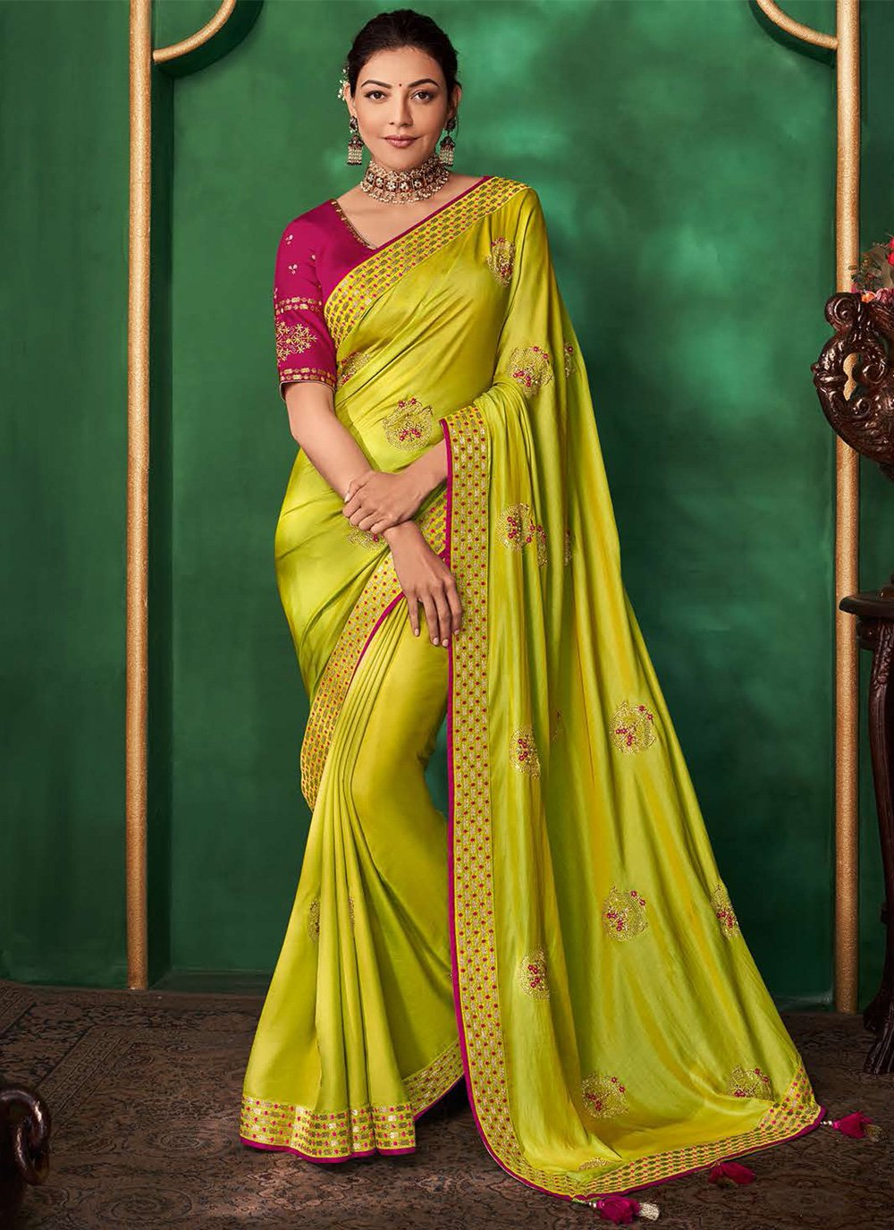 Green Festival Contemporary Saree