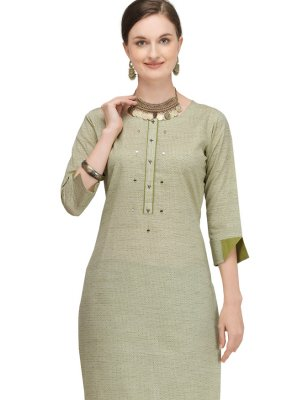 Green Festival Cotton Designer Kurti