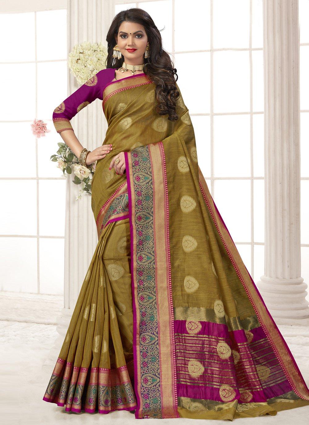 Green Festival Cotton Silk Designer Traditional Saree