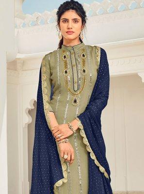 Green Festival Faux Georgette Designer Pakistani Salwar Suit