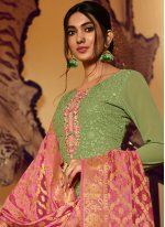 Green Festival Faux Georgette Designer Palazzo Salwar Kameez